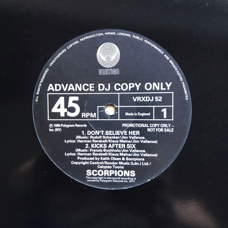 SCORPIONS - Don't Believe Her Record