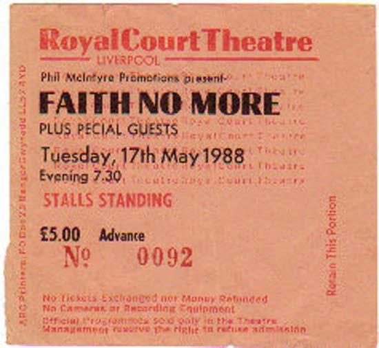 FAITH NO MORE - LIVERPOOL ROYAL COURT