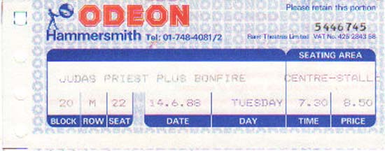 Hammersmith Odeon Ticket Stub